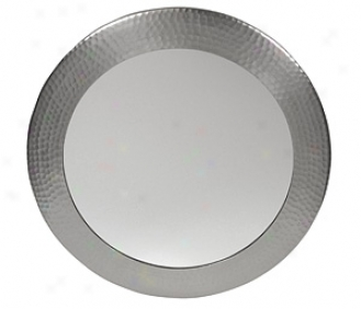 The Copper Factory Cf139sn Hand Hammered Round Mirror, Satin Nickel
