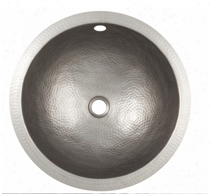 The Copper Factory Cf150sn 1 Hand Hammered Large Round Undermouunt Lavatory Sink, Satin Nickel