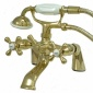 Kingston Assurance Ks267pb Victorian Deck Mount Leg Tub Filler With Hand Shower, 6 Spread, Polished Bra
