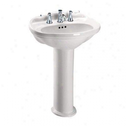 Toto Whitney Lpt754.811 Coleniel Pedestal Lavatory With 8 Inch Faucet Centers, White