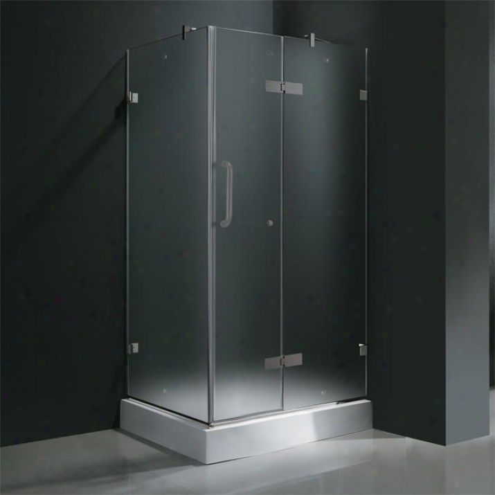 Vigo Vg6011bnmt32wr 32 X 32 Frameless 3/8 Shower Enclosure With Right Base, Frosted And Brushed N