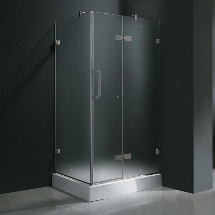 Vigo Vg6011bnmt363wr 36 X 36 Frameless 3/8 Shower Circle With Right Base, Frosted And Brushed