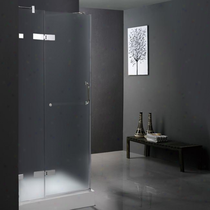 Vigo Vg6011chmt32wl 32 X 32 Frameless 3/8 Shower Enclosure With Left Base, Frosted And Chrome