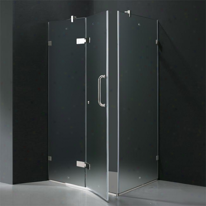 Vigo Vg6011chmt363l 36 X 36 Frameless 3/8 Shower Enclosure Left, Frosted And Chrome