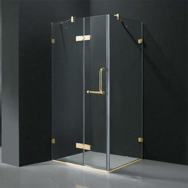 Vigo Vg6011pbcl32 32 X 32 Frameless 3/8 Shower Enclosure, Clear And Polished Brass