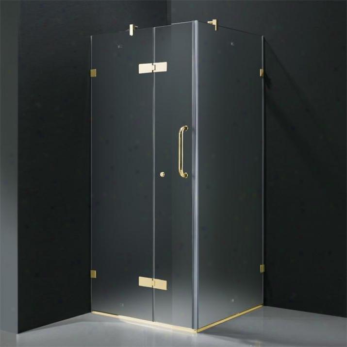 Vigo Vg6011pbmt32l 32 X 32 Frameless 3/8 Shower Enclosure Left, Frosted And Polished Brass