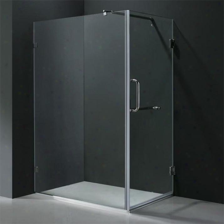 Vigo Vg6012bncl36 36 X 48 Frameless 3/8 Shower Enclosure, Clear And Brushed Nickel