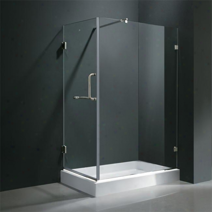 Vigo Vg6012chcl36wr 36 X 48 Frameless 3/ Shower Enclosure With Right Base, Clear And Chrome
