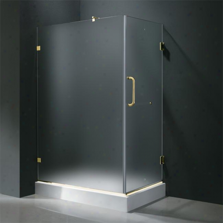 Vigo Vg6012pbmt36wl 36 X 48 Frameless 3/8 Shower Enclosure With Left Base, Frosted And Polished B