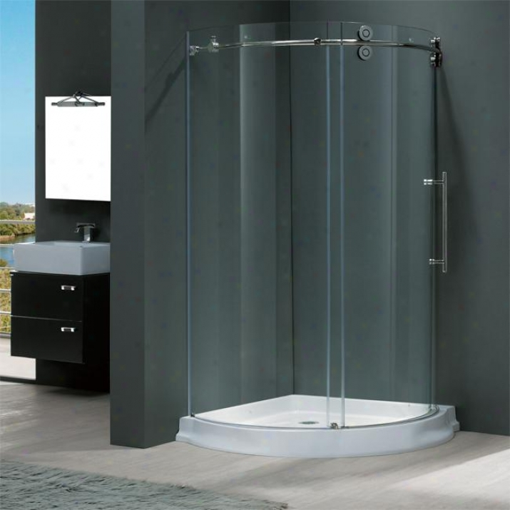 Vigo Vg6031chhcl40wr 40 X 40 Frameless Round 5/16 Shower Enclosure Right-sided Door With White Bas