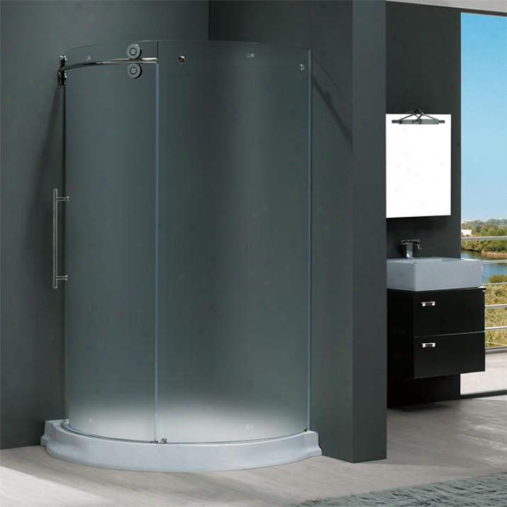 Vigo Vg6031chmt36wl 36 X 36 Frameless Round 5/16 Shower Enclosure Left-sided Door With Pale Base