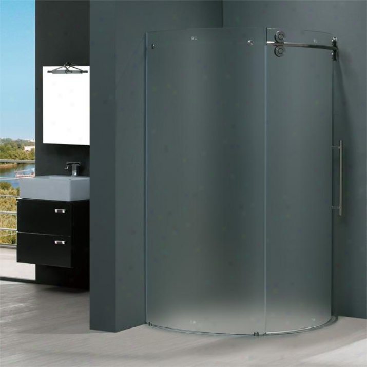 Vigo Vg6031stmt40r 40 X 40 Frameless Round 5/16 Shower Enclosure Right-sided Door, Frosted And St