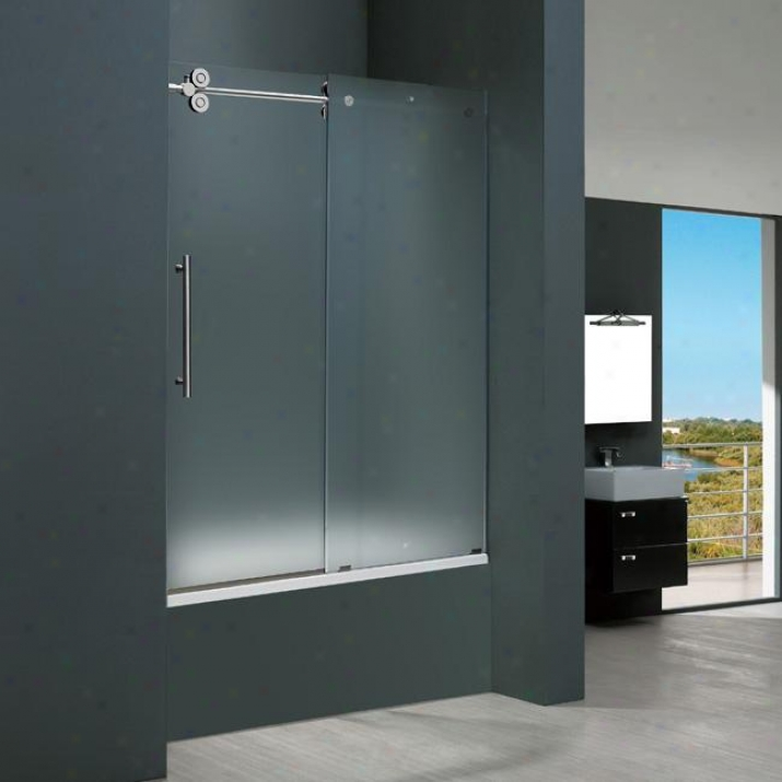 Vigo Vg6041chmt6066l 60-inch Frameless Tub Door 3/8 Left, Frosted And Chrome