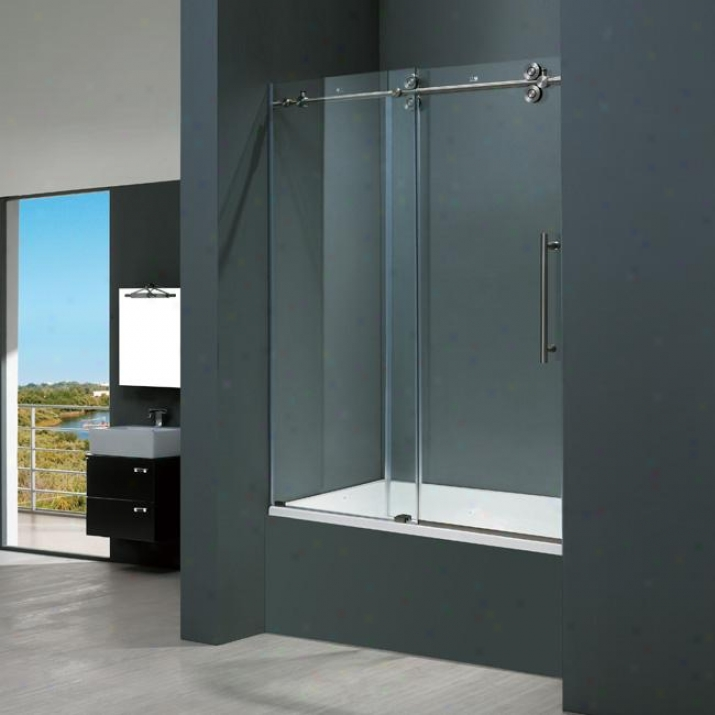 Vigo Vg6041stcl6066 60-inch Frameless Tub Door 3/8, Clear And Stainless Steel
