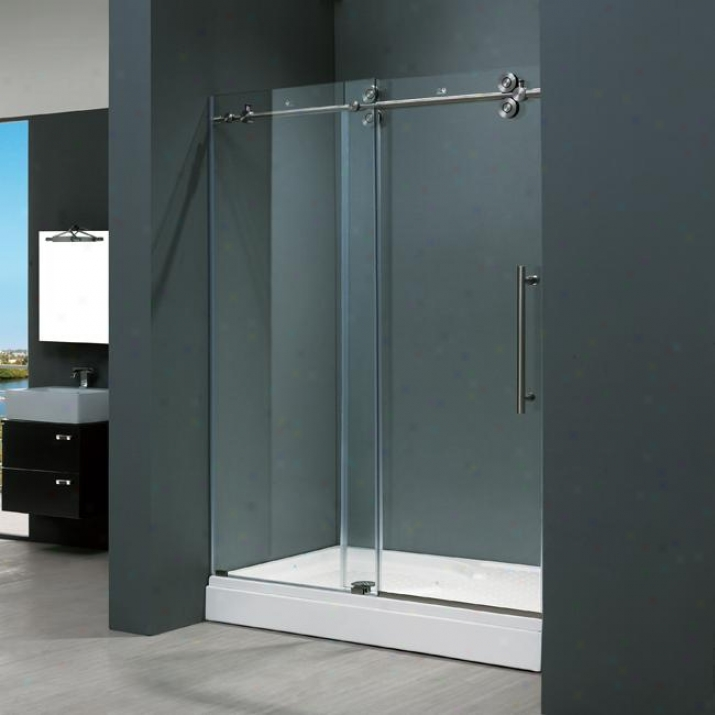 Vigo Vg6041stcl6074 60-inch Frameless Shower Door 3/8, Clear And Stainless Steel