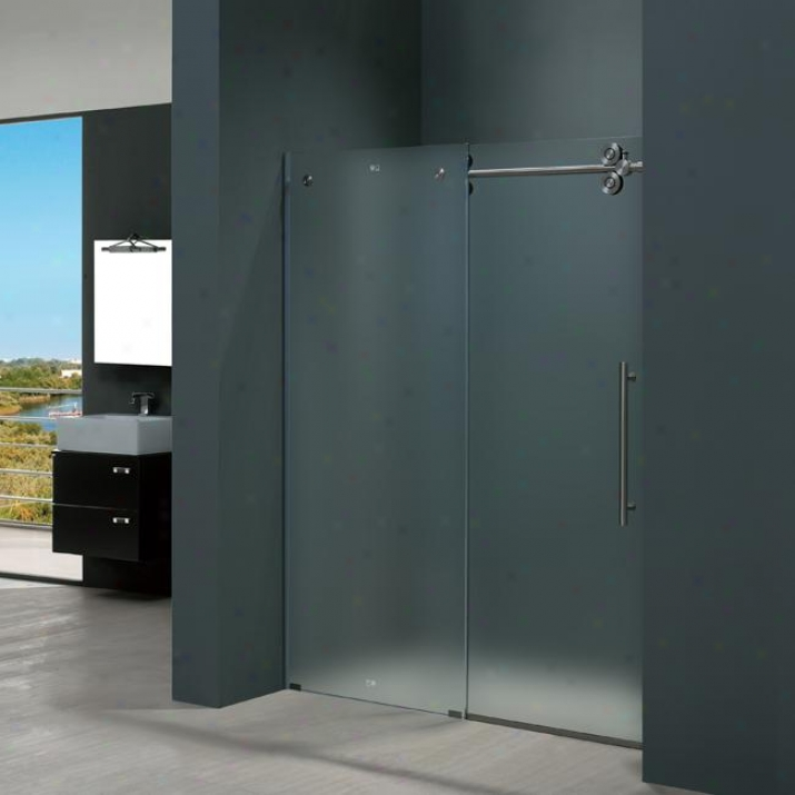 Vigo Vg6041stmt4874r 48-inch Frameless Shower Door 3/8 Right, Frosted And Stainless Steel
