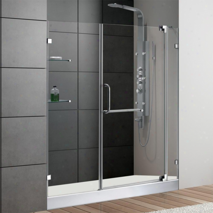 Vigo Vg6042chcl60w2 60 Frameless Shower Door With 3/8 Clear Glass And White Base, Clear And Chrome