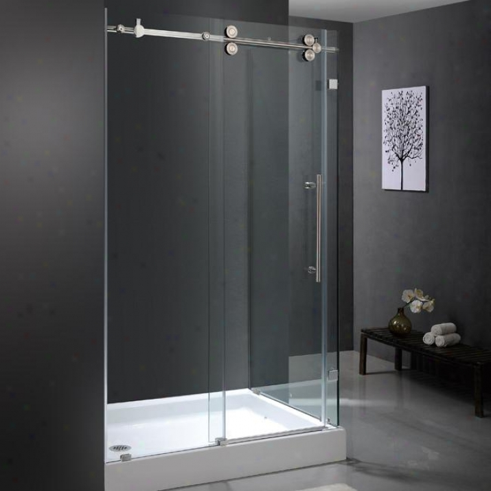 Vivo V6g051chcl48wl 36 X 48 Frameless 3/8 Shower Enclosure With Left Base, Clear And Chrome