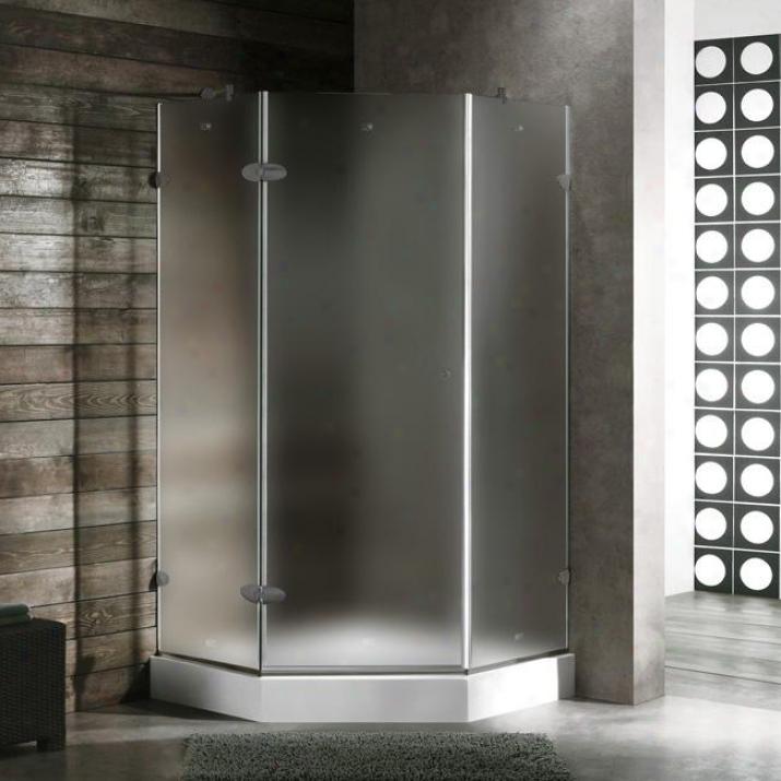 Vigo Vg6061bnmt338wr 38 X 38 Frameless Neo-angle 3/8 Shower Enclosure Attending Right White Base, Frost