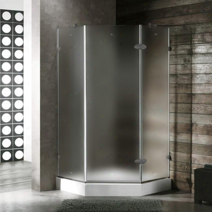 Vigo Vg6061bnmt42wl 42 X 42 Frameless Neo-angle 3/8 Shower Enclosure With Left White Base, Froste