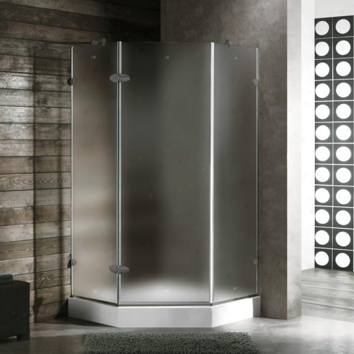 Vigo Vg6061bnmt42wr 42 X 42 Frameless Noe-angle 3/8 Shower Enclosure With Right White Found, Frost