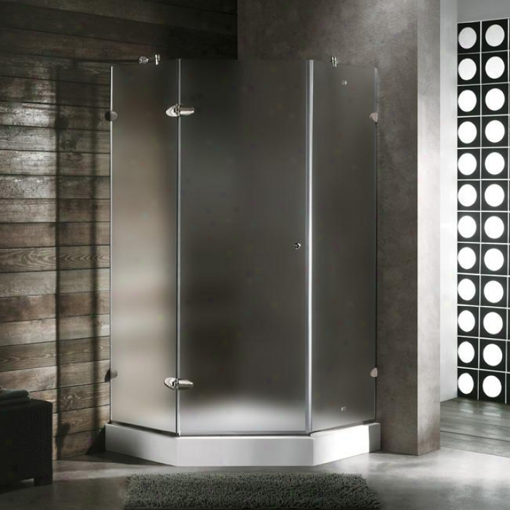 Vigo Vg6061chmt42wr 42 X 42 Frameless Neo-angle 3/8 Shower Enclosure In the opinion of Right White Base, Frost