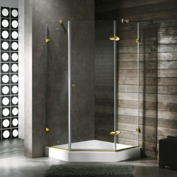 Vigo Vg6061pbcl38w 38 X 38 Frameless Neo-angle 3/8 Shower Enclosure With White Base, Clear And Po
