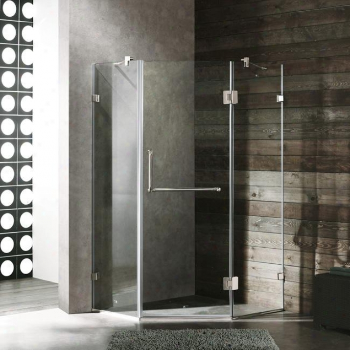 Vigo Vg6062bncl38 3 X 38 Frameless Neo-angle 3/8 Shower Enclosure, Clear And Brushed Nickel
