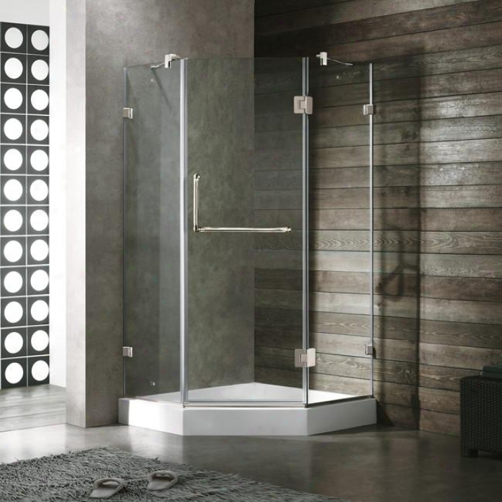 Vigo Vg6062chcl40w 40 X 49 Frameless Neo-angle 3/8 Shower Enclosure With White Bawe, Clear And Ch