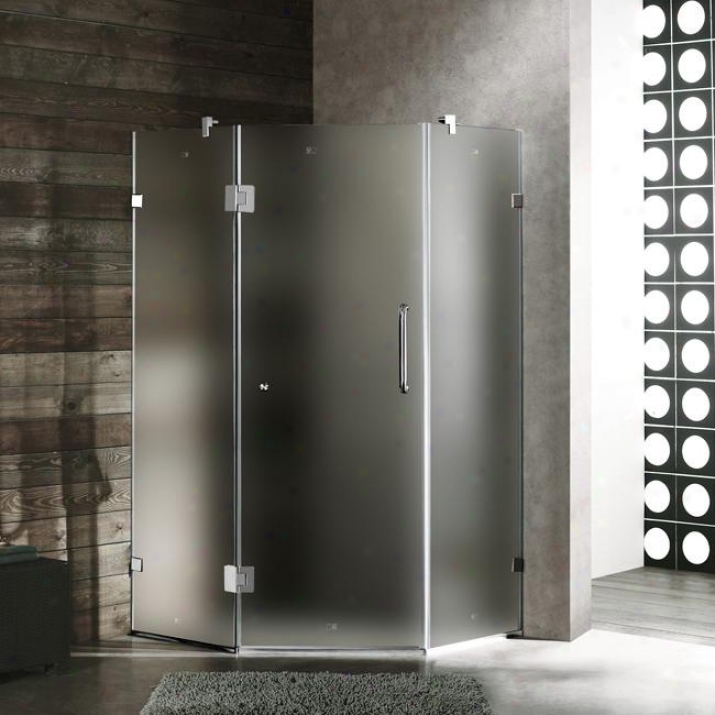 Vigo Vg6062chmt38r 38 X 38 Frameless Neo-angle 3/8 Shower Enclosure Right, Frosted And Chrome