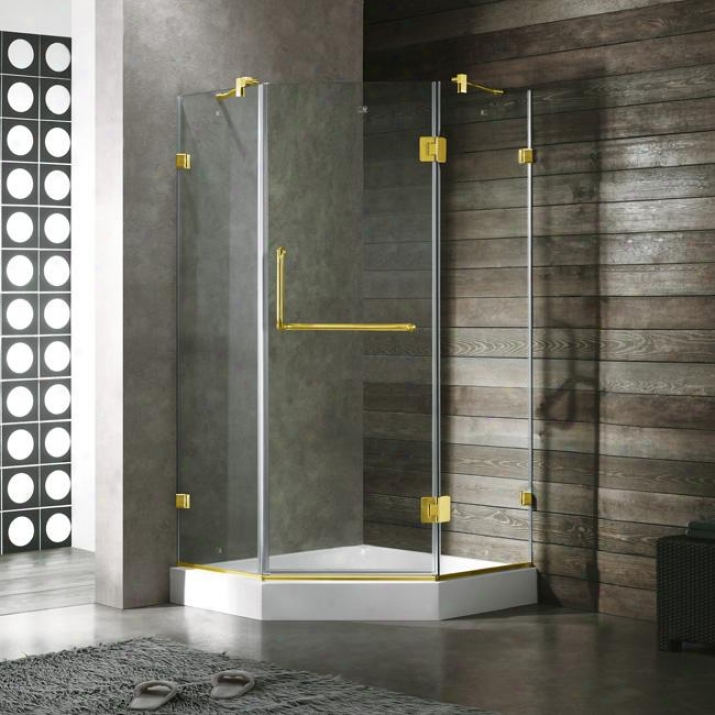 Vigo Vg6062pbcl36w 36 X 36 Frameless Neo-angle 3/8 Shower Enclosure With White Base, Clear And Po