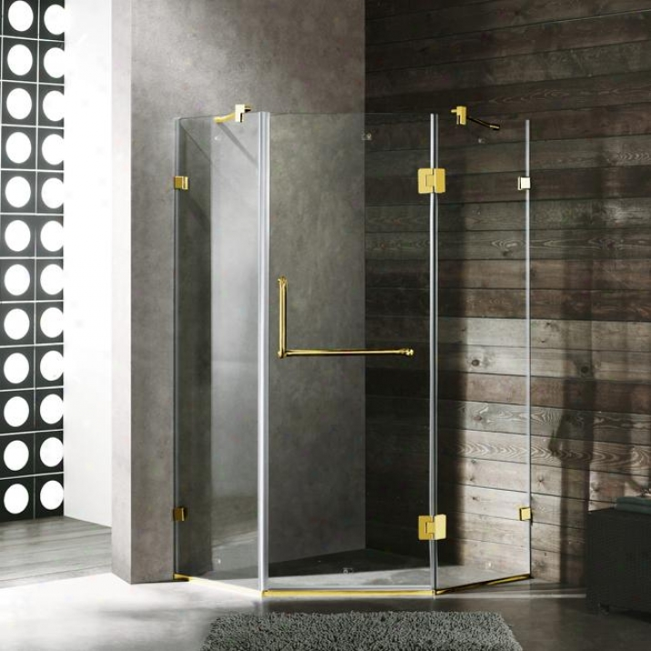 Vigo Vg6062pbcl40 40 X 40 Frameless Neo-angle 3/8 Shower Enclosure, Clear And Polished Brass