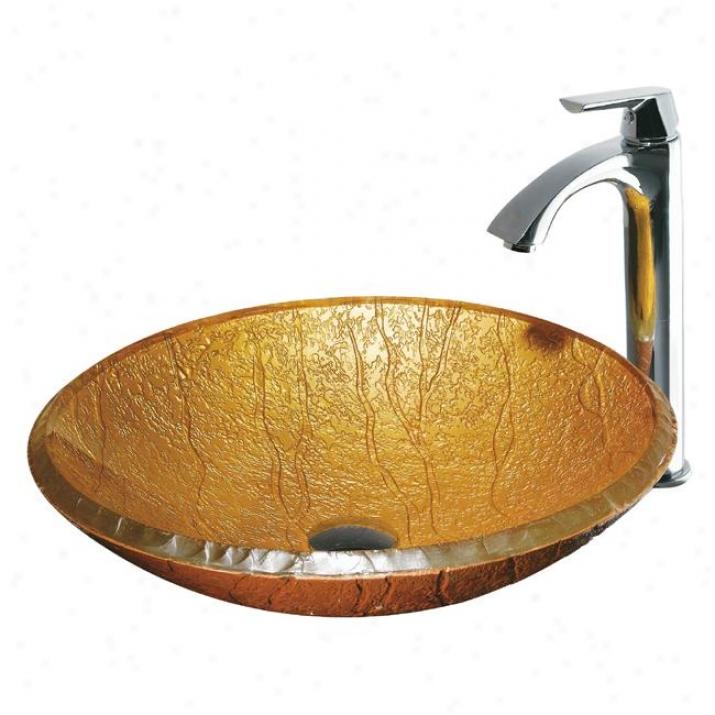 Vigo Vgt102 Half Moon Glwss Vessel Sink And Faucet Set, Chrome