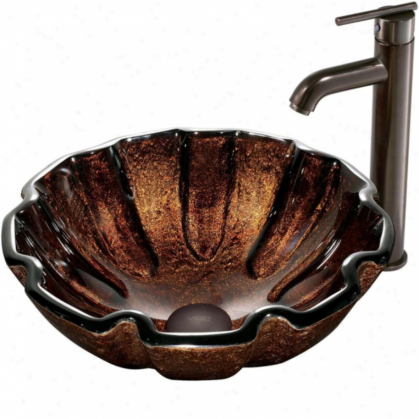 Vigo Vgt171 Walnut Shell Vessel Sink And Fwucet Set, Oil Rubbed Bronze