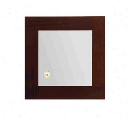 Whitehaus Amet01 Antonio Miro Square Mirror With Clock, Ebony Wood
