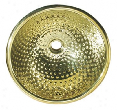 Whitehaus Wh602bmb Decorative Basins 13 Round Missile  Pein Hammered Drop-in Basin, Polished Brass