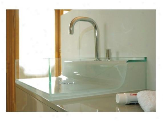 Whitehaus Whaelve55 Aeri Line Rectangular Above Mount Wash Basin, Transparent Glass