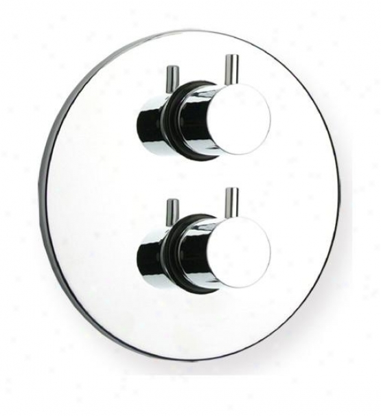 Whitehaus Whlx783tc Luxe Thermostatic Valve With Round Plate, Polished Chrome