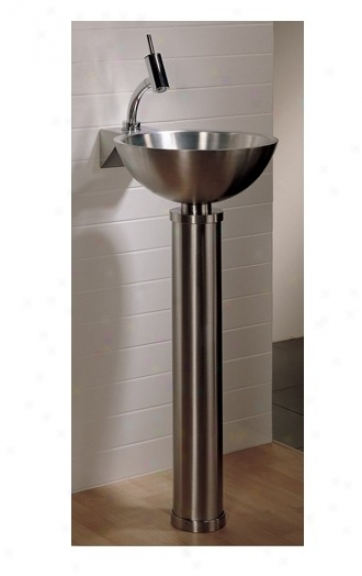 Whitehaus Whtube New Generation Freestanding Tubular Stand And Basin, Polished Stainless Steel