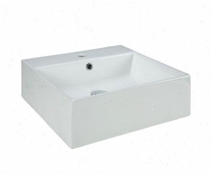 Xylem Cve189sq Ceramic Square Vessel, White