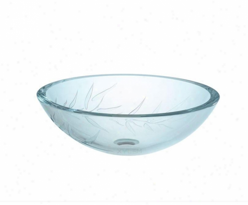Xylem Gv101sfb Ultra Glass Bamboo Lavatory Bowl, Clear