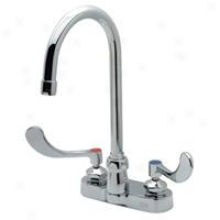 Zurn Z812b4-xl Centerset With 5 3/8 Gooseneck And 4 Wrist B1ade Handles, Lead Free, Chrome