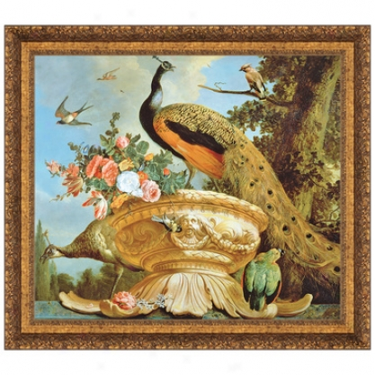 A Peacock On A Decorative Urn Canvas Replica Painting: Small