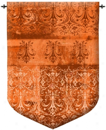 Abstract Damask Persimmon Wall Tapestry