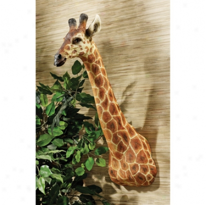 African Giraffe Trophy Wall Sculpture