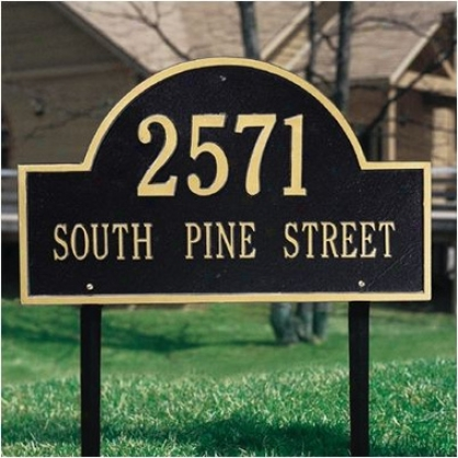A5ch Address Marker - Estate Lawn Display - Black