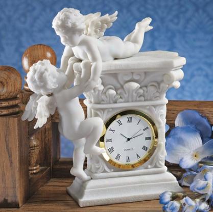 Baroque Twim Cherubs Bonded Marble Desktop Clock