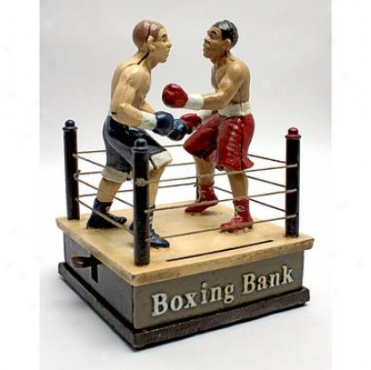 Battling Boxers Die Cast Iron Mechanical Coin Bank