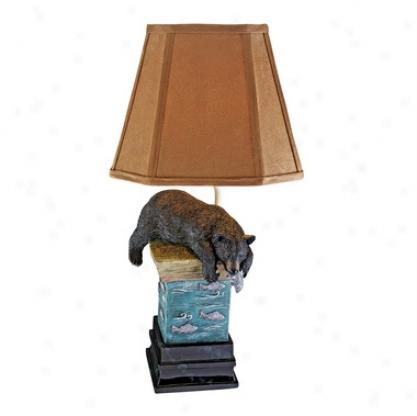 Black Bear At The Fishing Hole Sculptural Lamp