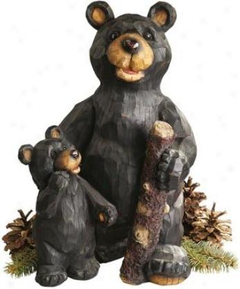 Black Forest Bear Pair Sculpture
